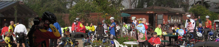 Club members taking a break at Ragged Point during annual New Year's day ride