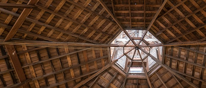 Looking up at the roof and cupola from inside the Octagon barn.